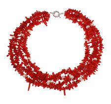 Twisted Red Coral & Real Pearl necklace Multi-strand Style Women's necklace