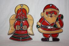 Lot of 2 Vintage Plastic Stainglass Christmas Ornaments: Santa Clause & Angel