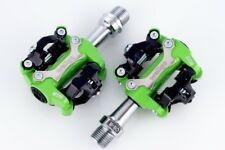 [US SELLER] New Wellgo M250 Bike CLIPLESS Pedal SPD COMPATIBLE Cleat 98A - Green
