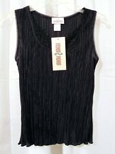 FASHION 2 FASHION ACCORDIAN PLEAT SLEEVELESS LACE TRIMMED TOP - SMALL ~ NWT!