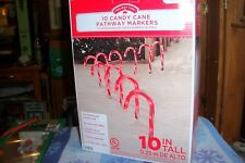 "10 Candy Cane Cane Pathway Markers 10"" Tall Electric Yard Decor Nib"