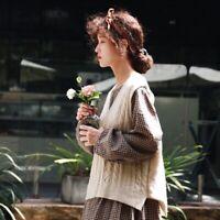 Pull gilet irlandais laine asymétrique Mori retro Shabby chic tricot vintage