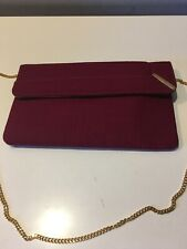 Vintage Crown Lewis Slim Burgundy Fabric Shoulder Purse Bag Gold Chain Strap