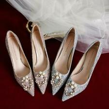 Women Pointy Toe Heels Sequins Bride Crystal Pearls Shoes Casual Wedding Party