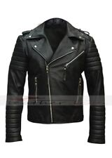 Mens Quilted Black Diamond  Real    Lamb Skin Slim fit Leather Jacket