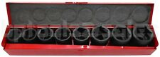 "9pc 3/4"" Drive (SAE) Air Impact CR-V Steel Socket Set w/ Metal Case"
