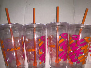 Dunkin Donuts 24 Oz Iconic Acrylic Tumbler Nwt Clear Orange Pink Cup (Lot of 4)