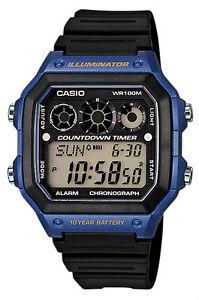 Casio Men's Black Resin Quartz Digital Rubber Strap Sports Watch AE-1300WH-2AVDF