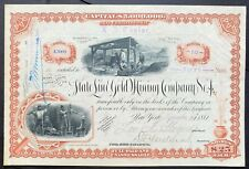 STATE LINE GOLD MINING CO. NO. 4 Stock 1881 Gold Mountain, Esmeralda Co, NV VF++