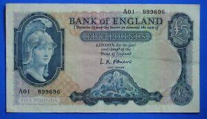 "1957 Bank of England, BOE Five pounds, O'Brien, Prefix ""A01"" £5 note *[22335]"