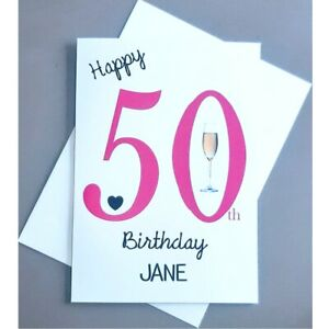 Personalised 50th Birthday Card Female 50 Years Old - Wife Daughter Mum Mother