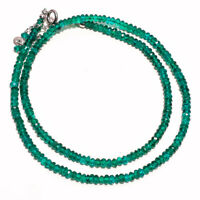 "Natural Green Onyx Gemstone Beads 925 Sterling Silver Necklace 17-20""P-144 (1)"