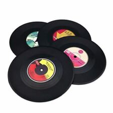 SET OF 4 Vinyl CD Coasters Records Vintage Retro Place Mats Novelty Gift Music