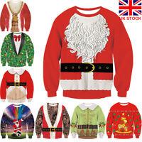 NEW Women Mens 3D Print Pullover Funny Christmas Coat Sweatshirt Xmas Tops UK
