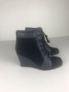 Kate Spade Boots 9.5 Womens Blue Flannel Wedge