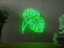 New Monstera Leaf Industrial Panama Neon Sign For Bedroom Artwork With Dimmer