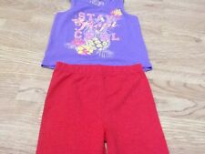 Girls Size 5-6 Years Red Minnie Mouse Leggings & Purple Vest Top - Brand New