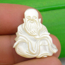 25x21mm Chinese Gods - Longevity Unmounted Carving Pendant Mother Of Pearl, Sau3