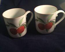 Royal Worcester Evesham 1961 Coffee Mugs (2) Made in England Fruit C51 Citrus