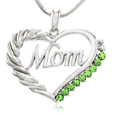 New Green Heart MOM Necklace Love Pendant Women Mothers Day Jewelry Gift For Mom