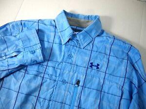 Under Armour Mens Shirt M Blue Plaid Hiking Fishing Vented Long Sleeve Button