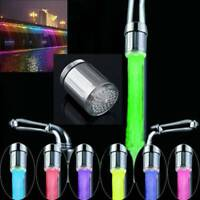 7 Colour Changing Glow LED Tap Light Water Faucet Bathroom Kitchen Lamp ~
