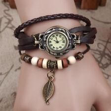 Women Vintage Charm Fashion Leaves Bracelet Faux Leather Quartz Wrist Watches