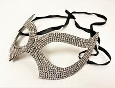 Rhinestone Cat Eye Mask Women's Clear Crystal  Royal Venetian Fetish Masquerade