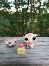 Littlest Pet Shop LPS  #1888 Hamster #1889 Mouse yellow brown cheese apple spots