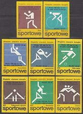 POLAND 1975 Matchbox Label - Cat.G#376/83 set, Olympic disciplines markings....