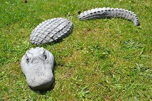 dreiteiliges Krokodil aus Steinguss -groß-