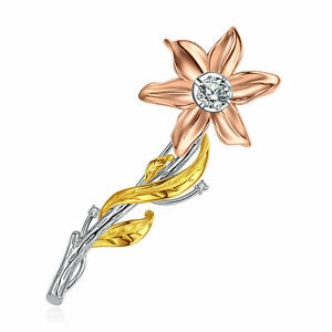 925 Silver Rose Gold Plated Dancing Stone Flower Bouquet Brooch Pin