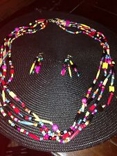 Earring & Necklace Set New MultiColor Handmade Beaded
