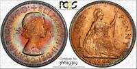 1965 GREAT BRITAIN ONE PENNY BU PCGS MS64RB CIRCLE TONED ONLY 1 GRADED HIGHER