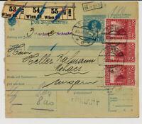 Österreich 1915 3*60h BEGLEITADRESSE, WIEN nach MOHÁCS (Ungarn)