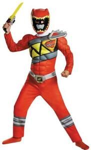 BOYS RED POWER RANGERS DINO CHARGE DELUXE MUSCLE COSTUME SIZE 4-6 DG82777