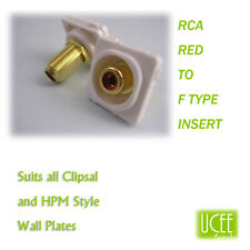 RCA - F Type Red Audio Wall Plate Insert Fits CLIPSAL AND COMPATIBLE PLATES