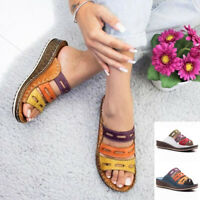 Women Slippers Stitching Sandals Leather Wedge Non-slip Casual Blue Patchwork