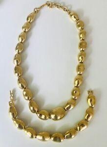 Vintage Signed MONET Gold tone Articulated Cabochon Necklace and Bracelet  Set