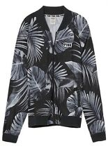 Victoria's Secret Pink Perforated Bomber Tropical Print Jacket Medium NWT
