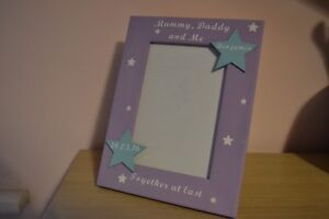 Personalised photo frame baby first photo - mummy daddy and me together at last