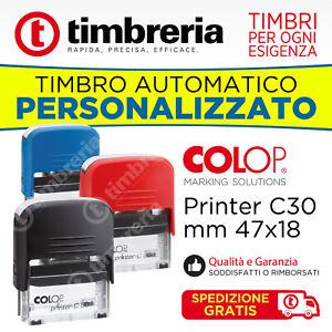 TIMBRO PERSONALIZZATO AUTOINCHIOSTRANTE AUTOMATICO COLOP P30 47x18  SPED. GRATIS
