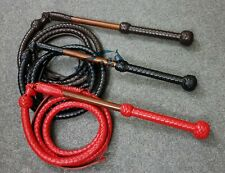 Premium Genuine Leather Stock Whip 5 feet 12 Plaits Adult Play Cowboy Bullwhip