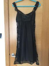 WOMENS KAREN MILLEN BLACK SILK CHIFFON FLOATY DRESS SIZE 10