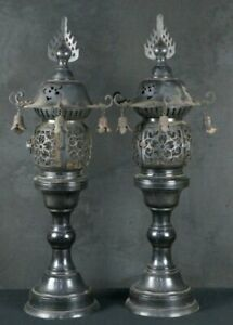 Antique Japan bronze Buddhist lamp 1800s from old Buddhist shrine