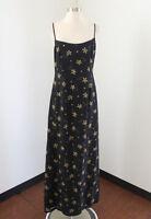 Adrianna Papell Black Floral Silk Evening Dress Size 8 Beaded Green