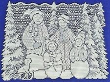 """Two Lace Place Mats White Snow Family 14.25"""" x 19"""" Den Livingroom Bedroom"""