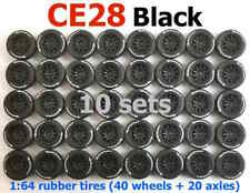 1/64 CE28 Black rim Michelin tires fit Hot Wheels Mazda diecast car - 10 sets