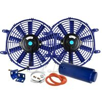 """2X 12/"""" Slim//Thin 12V Push//Pull Electric Radiator//Cooling Fan Red+Coolant Tank"""