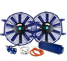 "2X 10"" Slim/Thin 12V Push/Pull Electric Radiator/Cooling Fan Blue+Coolant Tank"
